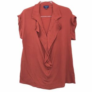Faconnable 14 Silk Blend Short Sleeve Top Orange